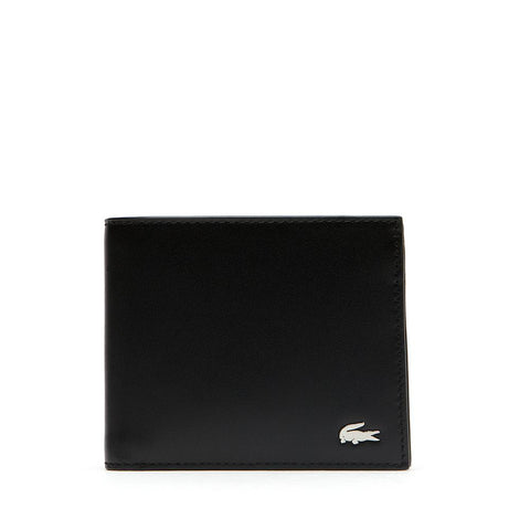 Lacoste Men's FG Large Billfold and Coin Leather Wallet Black NH1112FG 000