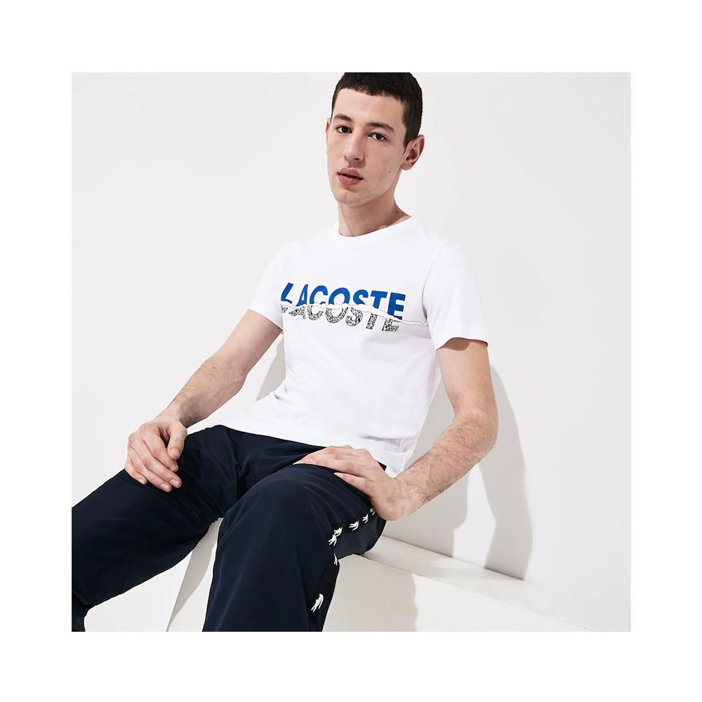 Lacoste Men's Sport Crew Neck Graphic T-shirt White/Obscurity-Black-White TH4907-51 Y6G