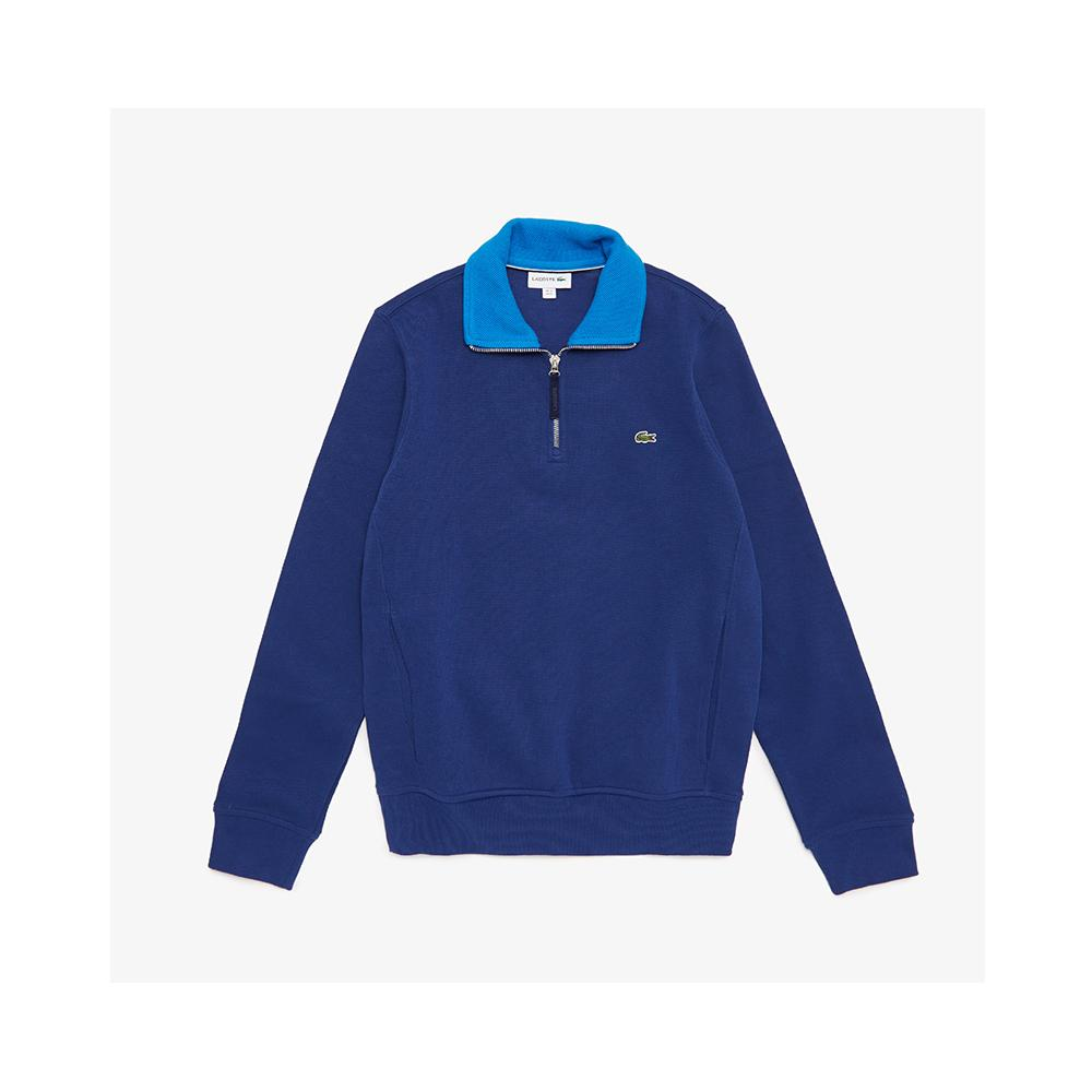 Lacoste Men's Long Sleeve 1/4 Zip Interlock Cotele Sweatshirt Methylene/Nattier Blue SH3293-51 BXM