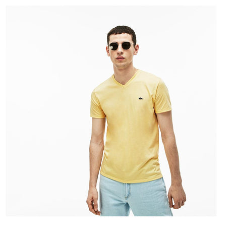 Lacoste Men's V-neck Pima Cotton Jersey T-shirt Napolitan Yellow TH6710-51 6XP