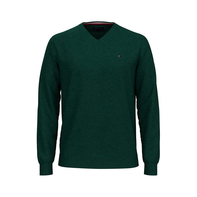 Tommy Hilfiger Signature Solid V-Neck Sweater Kings Emerald Green 78J0479 301