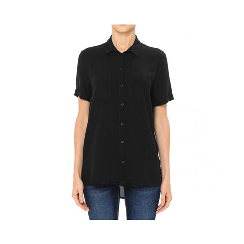 Aplaze Short Sleeve Button-Up Shirt Black  72468