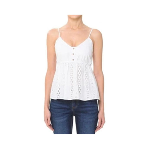 Aplaze Eyelet V-Neck Flounced Cami Top White 72322