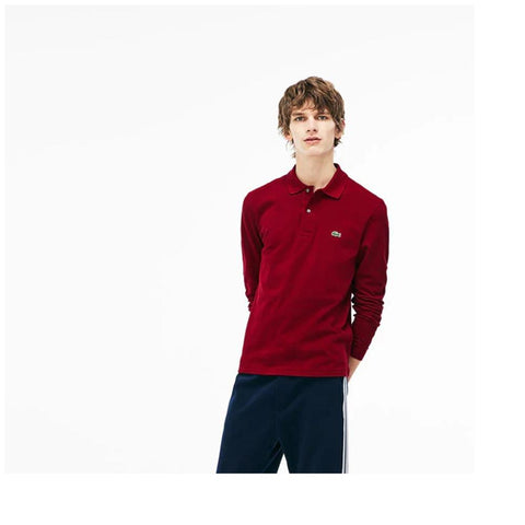 Lacoste Mens Long Sleeve Classic Pique Polo Bordeaux L1312-51 476