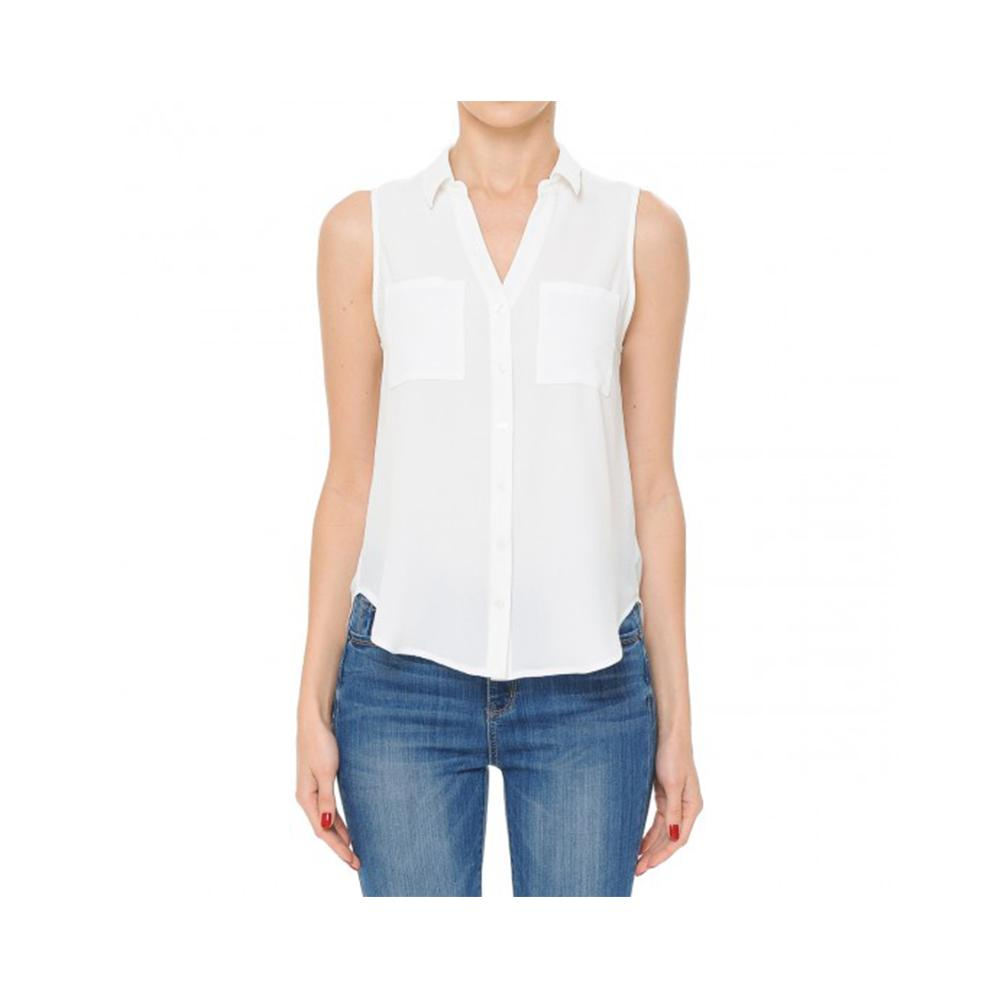 Aplaze Button-Front Collared V-Neck Sleeveless Top Off White 71900