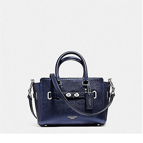 Coach Mini Black Carryall in Bubble Leather Metallic Navy F56138