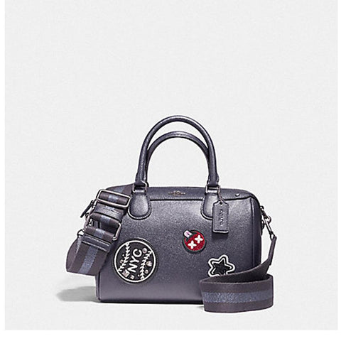 Coach Mini Bennett Satchel in Crossgrain Leather with Webbed Strap Silver/Saddle F11803