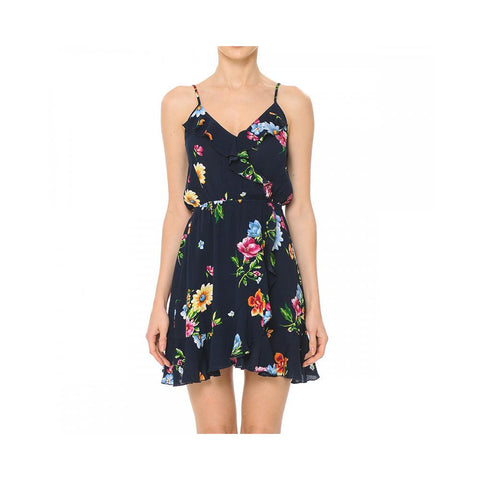Aplaze Floral Print Woven Mini Surplice Tulip Dress Black 70485