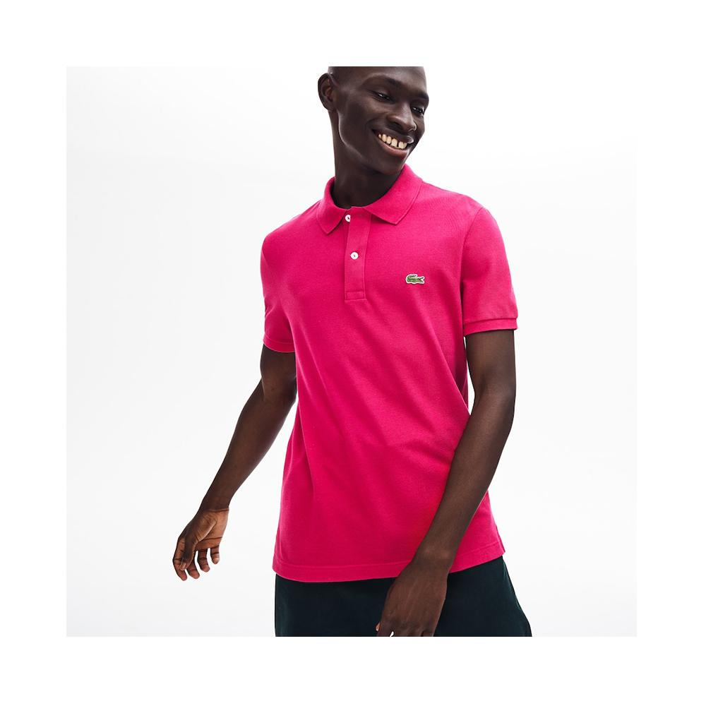 Lacoste Men's Slim fit Petit Pique Polo Shirt Fairground Pink PH4012-51 3DH