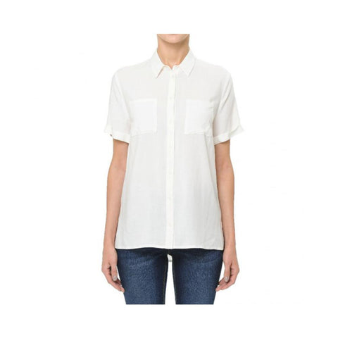 Aplaze Short Sleeve Button-Up Shirt Off White 72468