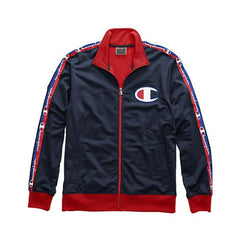 Champion Life Men's Track Jacket, Taping Navy/Scarlet V3377