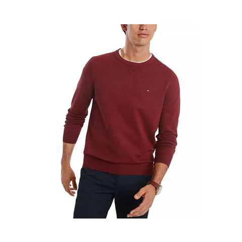 Tommy Hilfiger Men's Signature Solid Crew Neck Sweater Biking Red Htr 78J0478 640