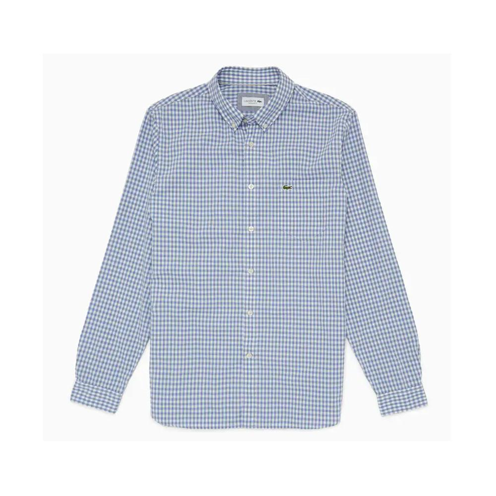 Lacoste Regular Fit Mini Check Poplin Shirt White/Purpy CH9559-51 WCW
