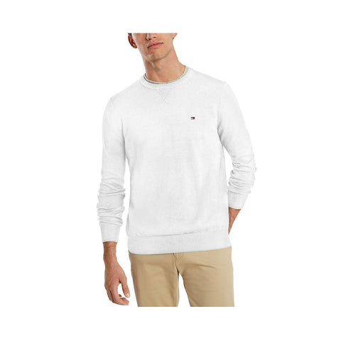 Tommy Hilfiger Men's Signature Solid Crew Neck Sweater Bright White 78J0478 110