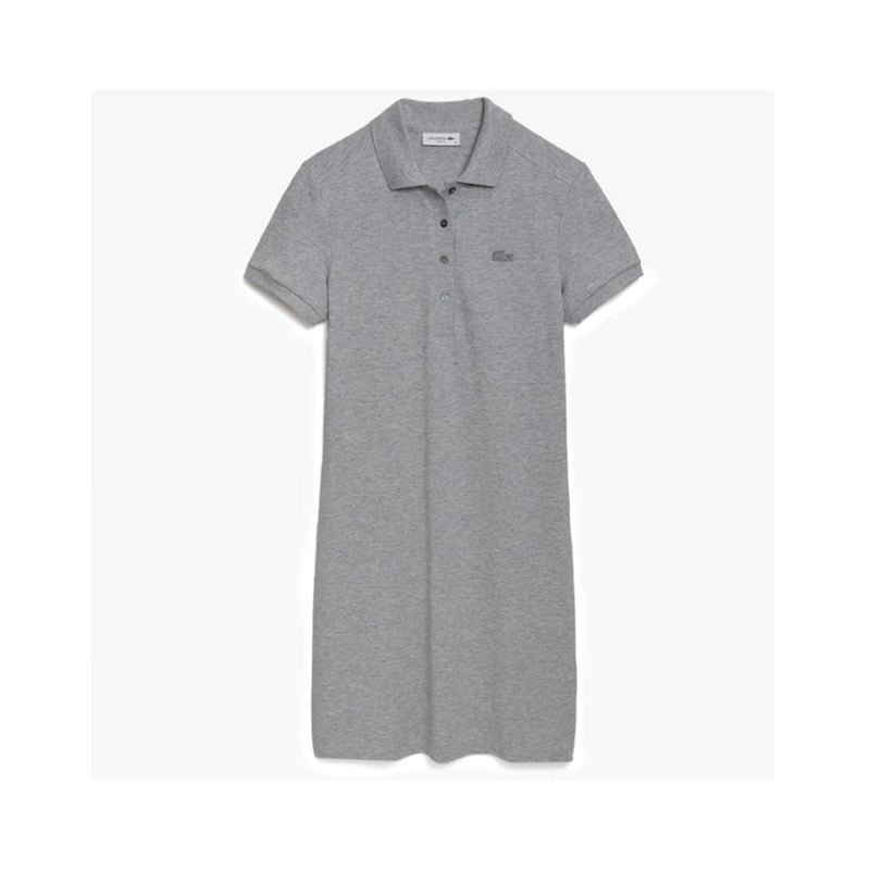 Lacoste Womens Stretch Cotton Piqu?? Polo Dress Silver Chine EF5473 CCA