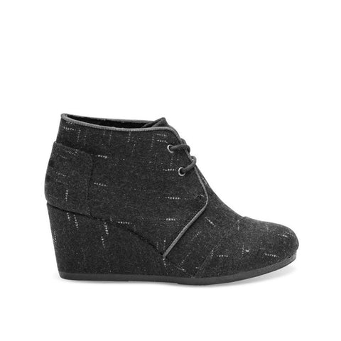 TOMS Womens Desert Wedges Black Dotted Wool 10008889