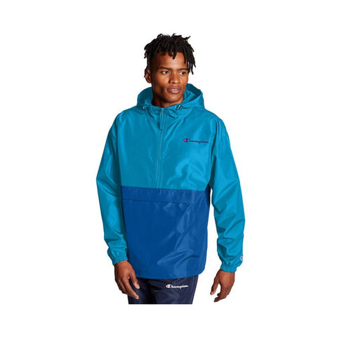Champion Color Blocked Packable Jacket Deep Blue Water/Optical Blue V1016 4W6