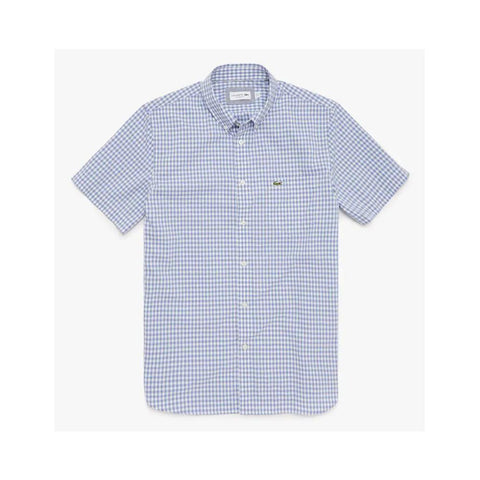 Lacoste Men's Regular Fit Gingham Poplin Shirt White/Purple  CH9608-51 WCW
