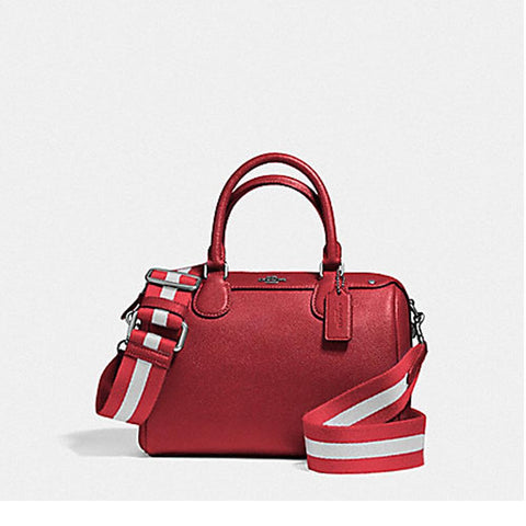 Coach Mini Bennett Satchel in Crossgrain Leather with Webbed Strap Silver/True Red F11808
