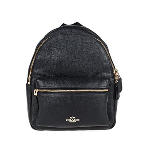 Coach Mini Charlie Backpack In Pebble Leather Black F58263/F38263