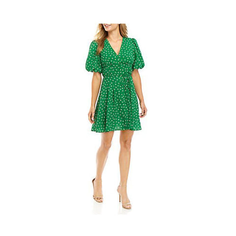 French Connection Adelise Puff Sleeve Mini Dress Fern Green Multi 71MIT