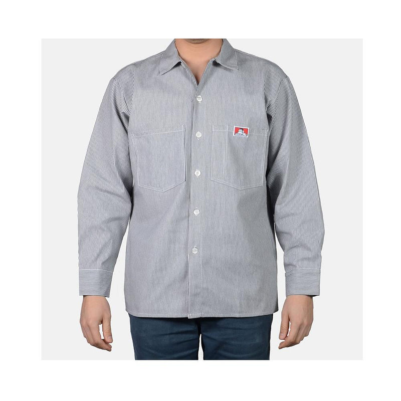 Ben Davis Long Sleeve Button-Up Front Stripe Hickory 226