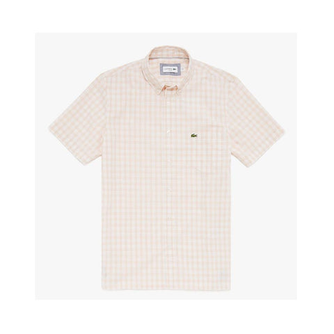 Lacoste Men's Slim Fit Short-Sleeve Wool Shirt White/Light Pink  CH7346-51 PBG