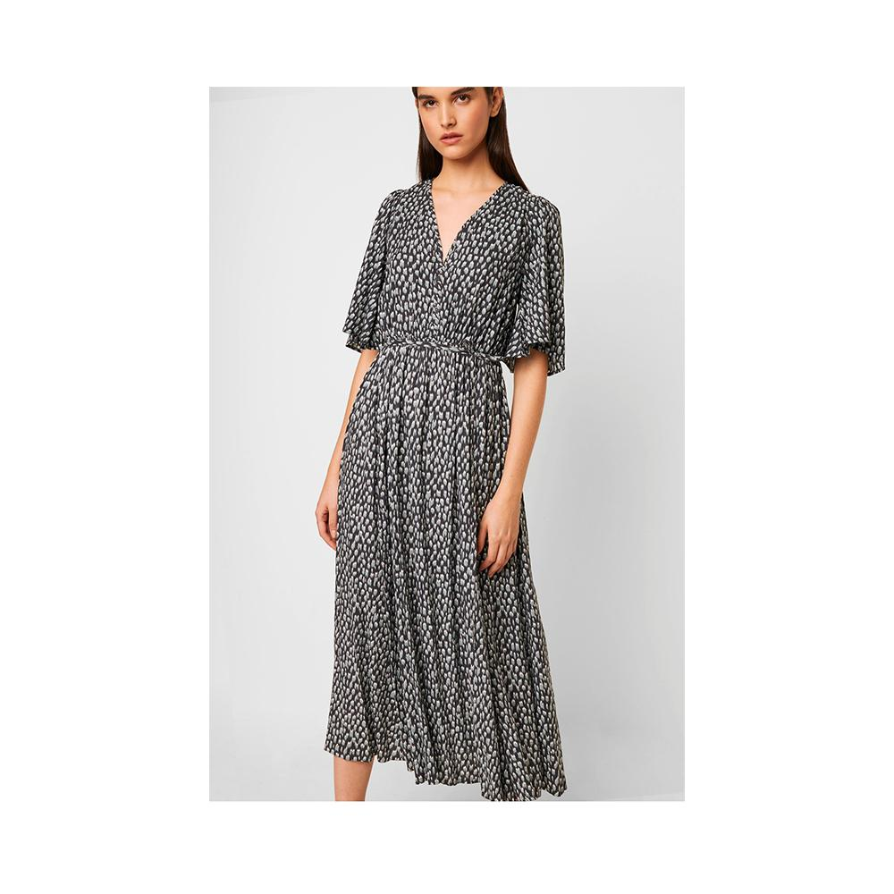 French Connection Akira Drape Printed Dress Ebano/ Silver Blue Mult 71NAO