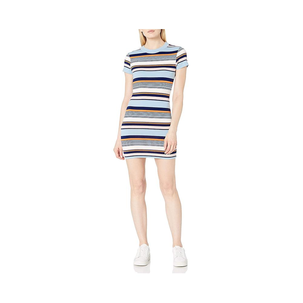 French Connection Byatt Striped Mini Dress Byatt Utility Blue 71NHC