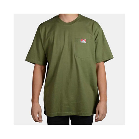 Ben Davis Classic Label Heavy Duty Short Sleeve Pocket T-Shirt Olive 912