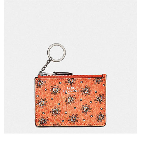 Coach Mini Skinny ID Case in Crossgrain Leather Coral Multi  F11849