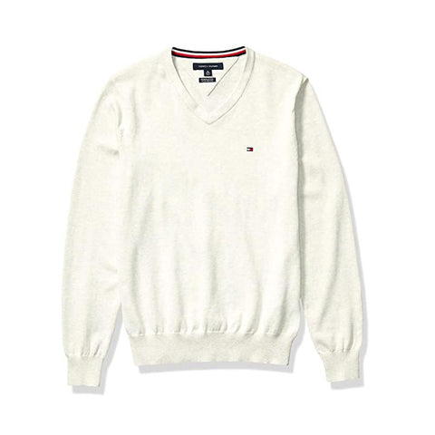 Tommy Hilfiger Signature Solid V-Neck Sweater Snow White Htr 78J0479 110