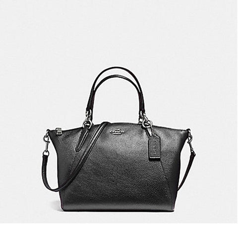 Coach Small Kelsey Satchel in Metallic Pebble Leather Gunmetal F56127