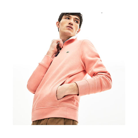Lacoste Men's Long Sleeve 1/4 Zip Interlock Cotele Sweatshirt SH3293-51 6Y0 Elf Pink/Flour