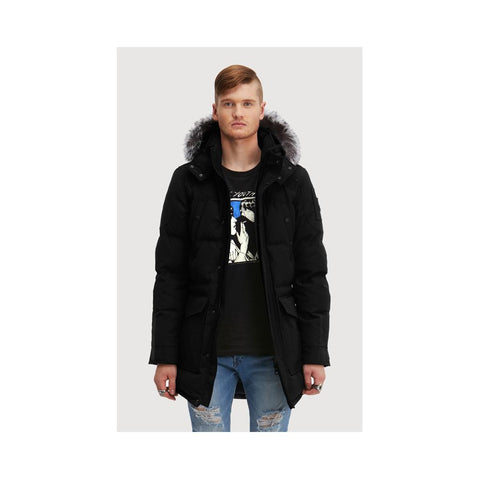Moose Knuckles Mens Ontario Parka Night Black with Silver fox fur MK4602MMWP-987