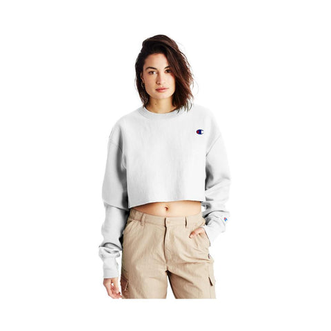 Champion Women's Reverse Weave Cropped Cut-Off Crew White  WL827-549302