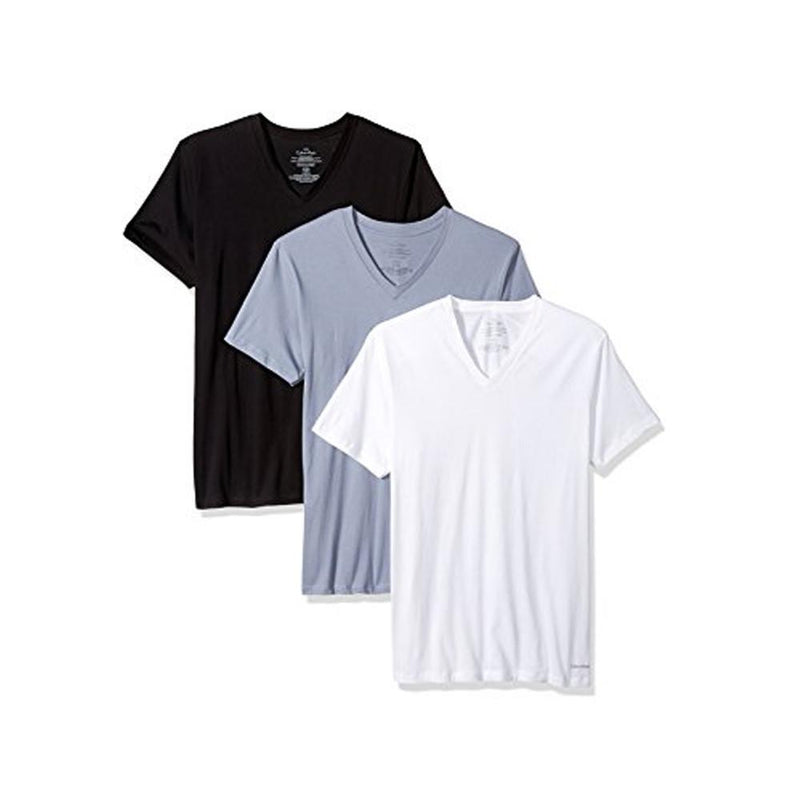 Calvin Klein Men's Undershirts 3 Pack Cotton Classics V-Neck T-Shirts Multi(Grey/White/Black) M4065