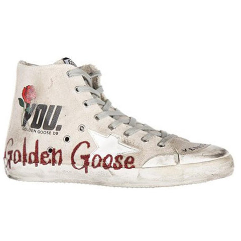 Golden Goose Francy Sneakers Cream Canvas Glitter Memory G30MS591.A57