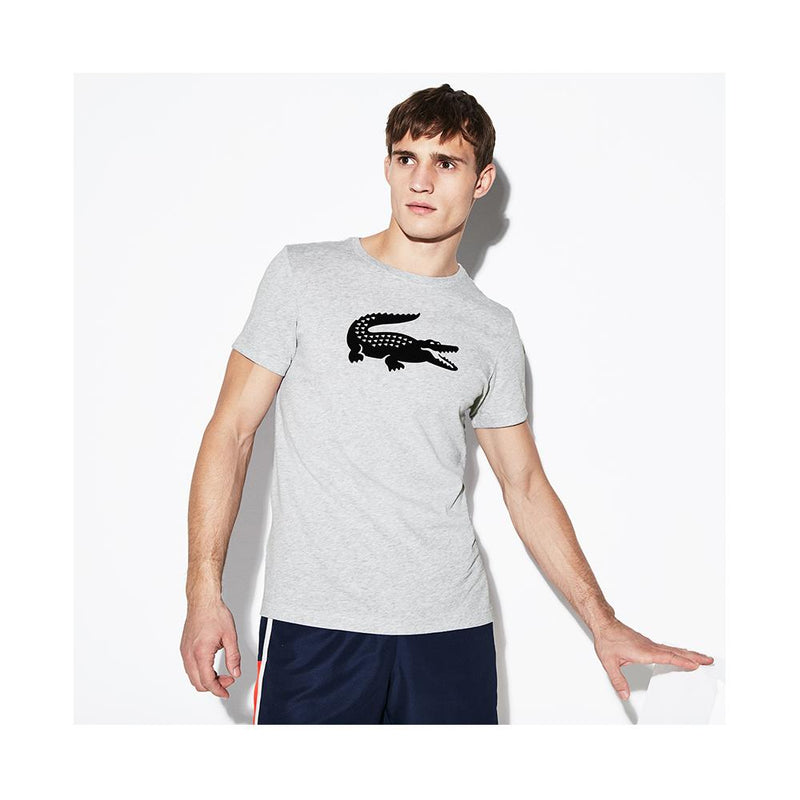 Lacoste Mens SPORT Crew Neck Ultra Dry T-shirt Silver Chine/Navy Blue TH3377-51 MNC