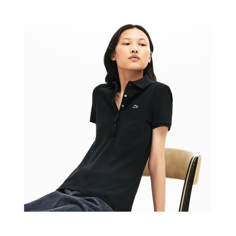 Lacoste Women's Slim Fit Stretch Mini Cotton Piqu?? Polo Shirt Black PF7845 51 031