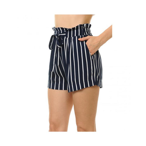 Aplaze Striped Tie-Front High Paperbag Waist Woven Pull-On shorts Eclipse/Off White 70446