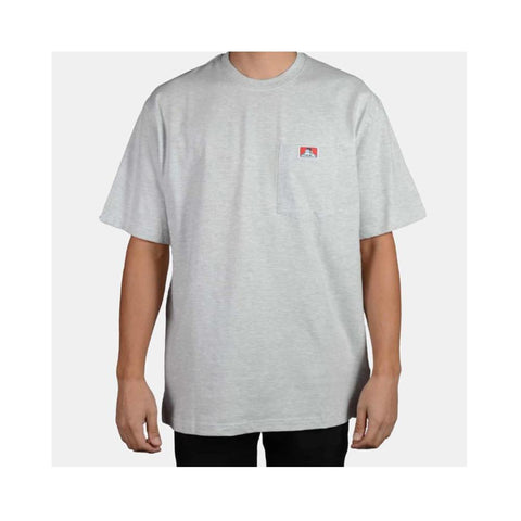 Ben Davis Classic Label Heavy Duty Short Sleeve Pocket T-Shirt  Ash Grey 913