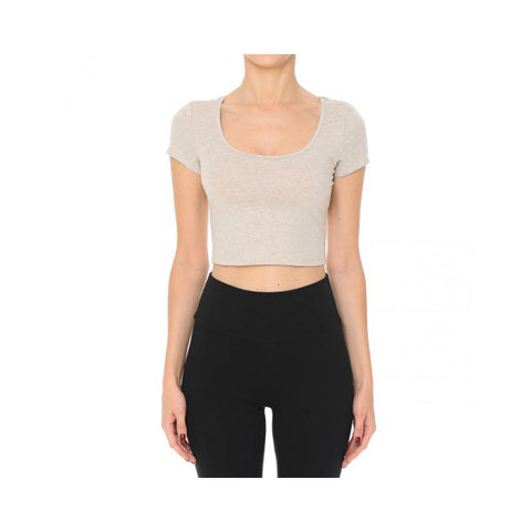 Aplaze Scoop Neck Basic Crop Top Oatmeal 65900