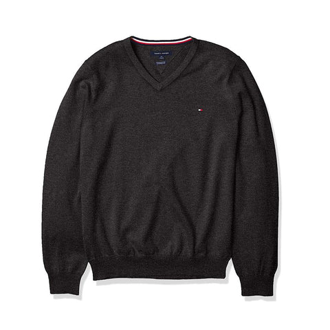 Tommy Hilfiger Signature Solid V-Neck Sweater Charcoal Grey Htr/The Deep Knit Black 78J0479 060