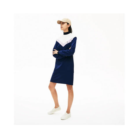Lacoste Women's Colorblock Fleece Sweatshirt Dress Navy Blue/Purple/White EF5769-51 R83