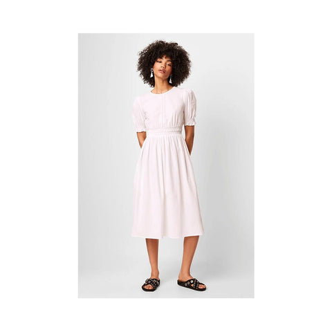 French Connection Yuri Seersucker Smock Sundress Linen White 71NNW