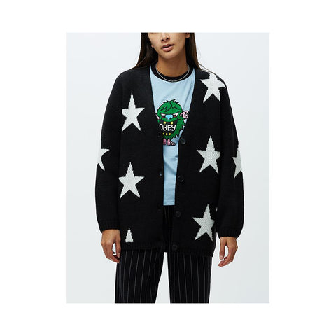 Obey Stars Cardigan Black Multi 251010052