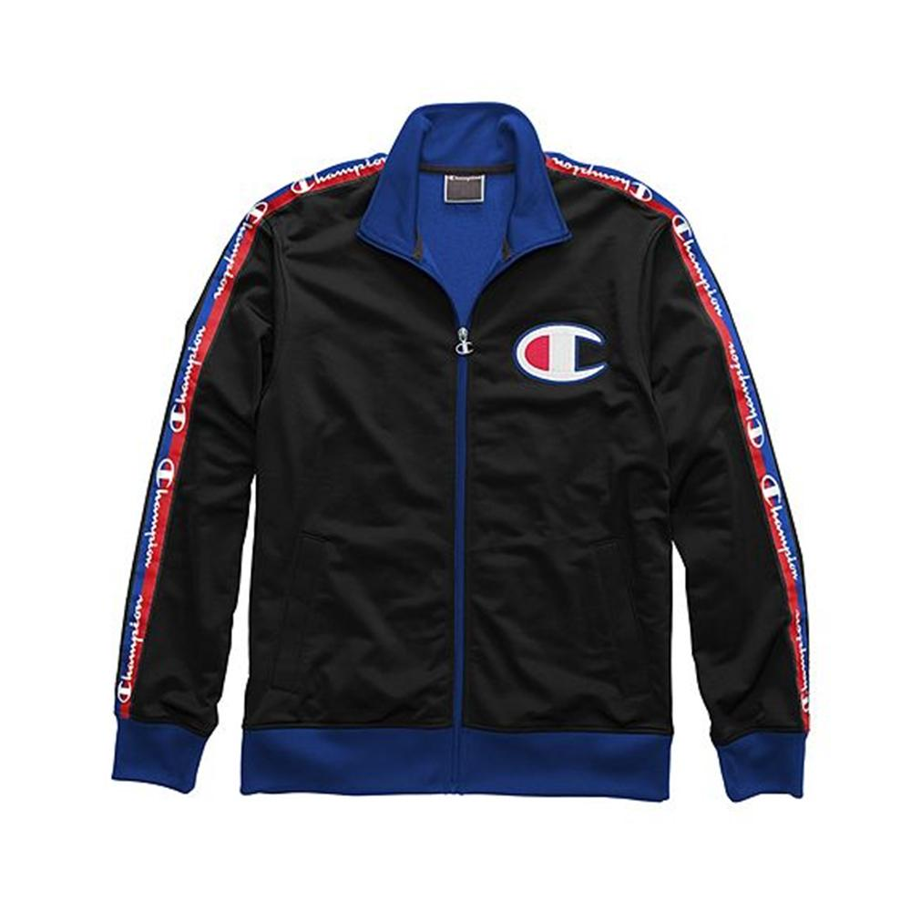 Champion Life Men's Track Jacket, Taping Black/Surf The Web V3377