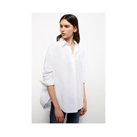 French Connection Rhodes Poplin Relaxed Fit Shirt Linen White 72JZ8