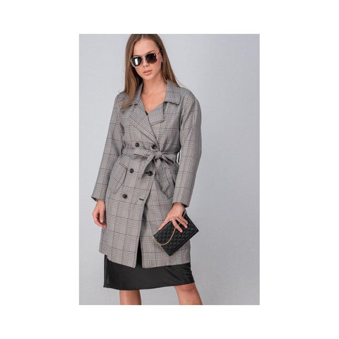 Aplaze Plaid Button Long Coat With Waist Tie Grey 0917-3335